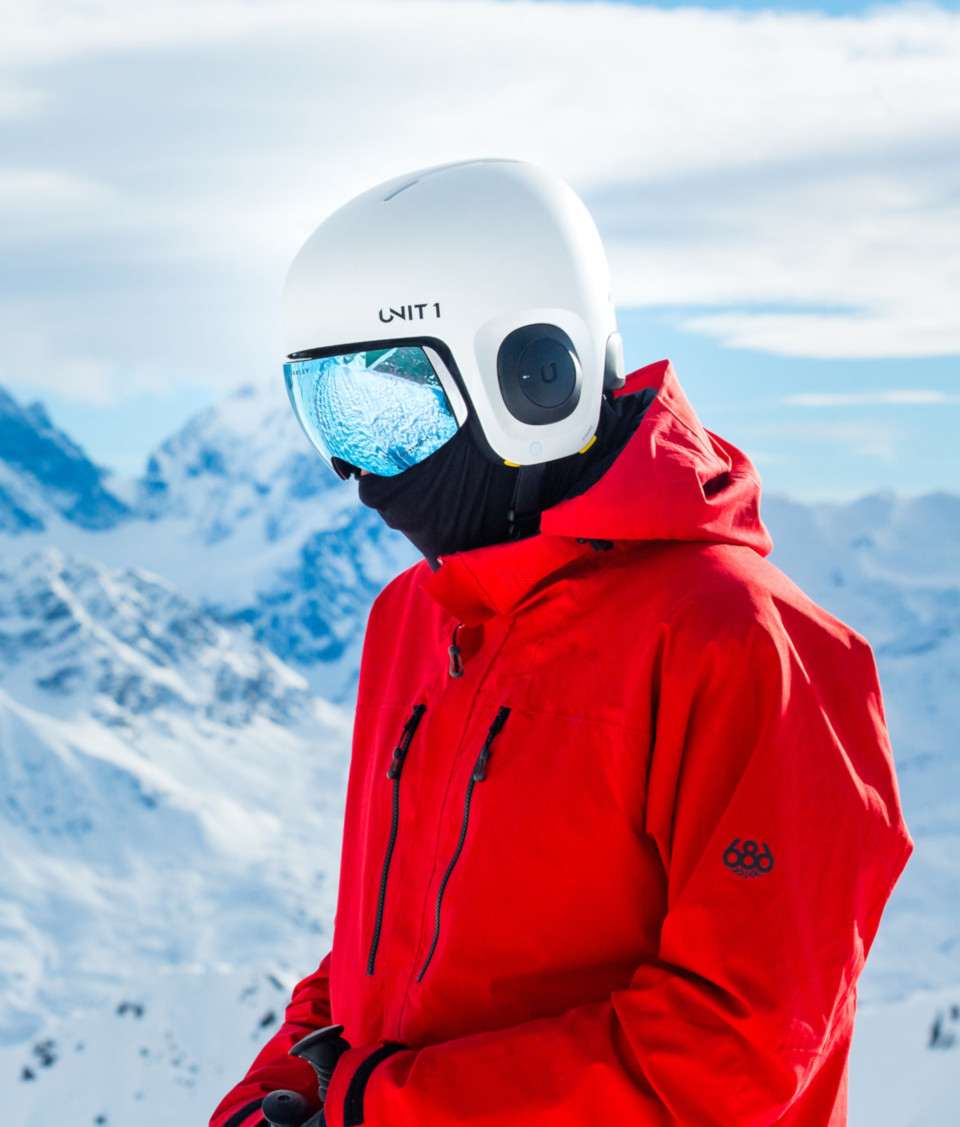 Man wearing Unit1 Soundshield™ in mountains and snow landscape